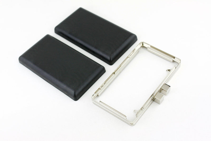 7 3/8 x 4 1/8 inch - 2 Square Closures - Silver Right Angle Box Clutch Frame | SUPPLY4BAG