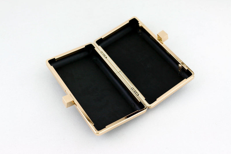 7 3/8 x 4 1/8 inch - 2 Square Closures - Gold Right Angle Box Clutch Frame | SUPPLY4BAG