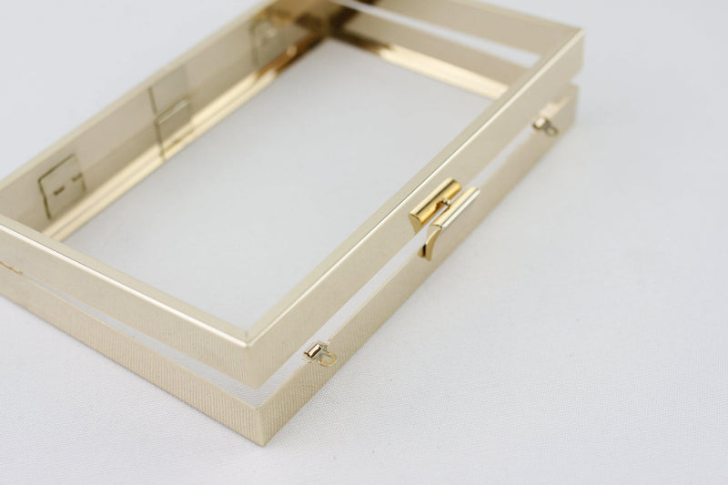 8 x 5 inch - Curve Shape Clasp - Gold Hollow Clutch Frame with Chain Loops | SUPPLY4BAG