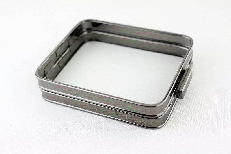 6 1/4 x 5 inch - Gunmetal Hollow Clutch Frame with Chain Loops | SUPPLY4BAG