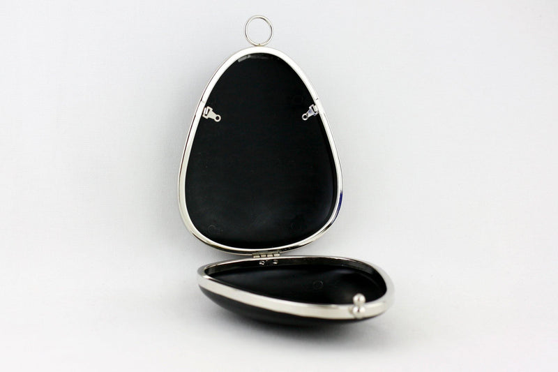 7 x 6 inch - O Ring - Pear Shaped Silver Box Clutch Frame | SUPPLY4BAG