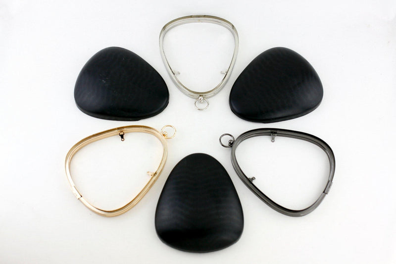 7 x 6 inch - O Ring - Pear Shaped Gunmetal Box Clutch Frame | SUPPLY4BAG