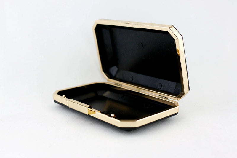 8 x 4 3/4 inch - 2 inch Closure - Gold Large Octagonal Metal Box Clutch Frame | SUPPLY4BAG