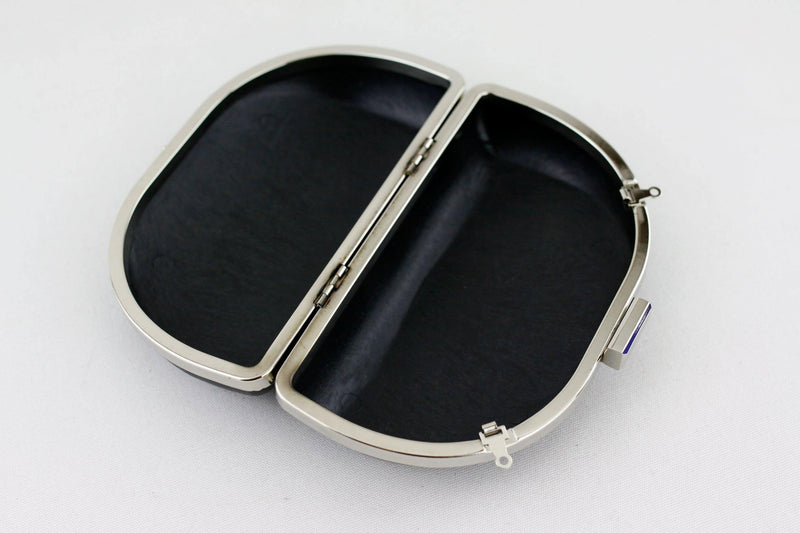 6 3/4 x 4 inch - Square Closure - D Shape Silver Box Clutch Frame | SUPPLY4BAG