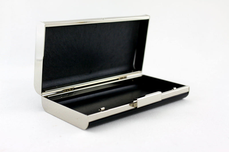 8 x 4 inch - 2 inch Closure - Silver Curve Edge Rectangle Metal Box Clutch Frame | SUPPLY4BAG