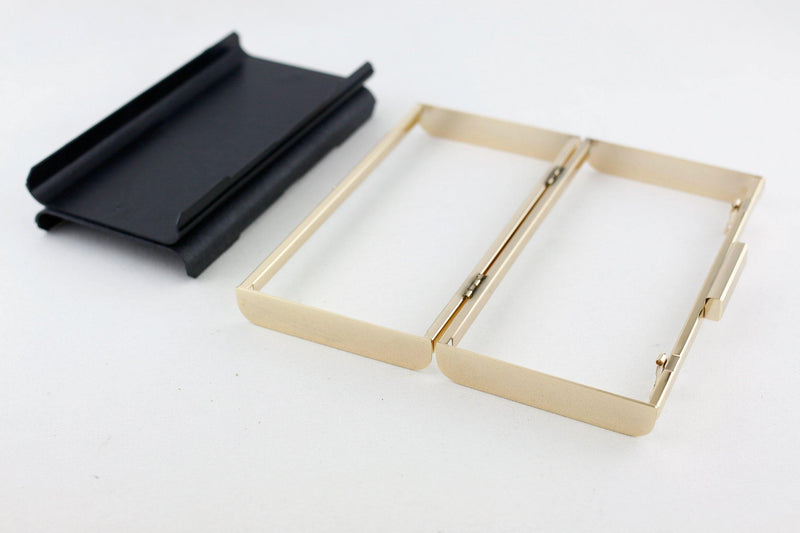 8 x 4 inch - 2 inch Closure - Gold Curve Edge Rectangle Metal Box Clutch Frame | SUPPLY4BAG