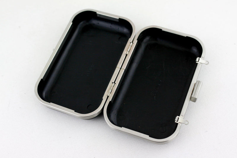 6 1/4 x 3 3/4 inch - Brushed Silver Rectangle Clutch Frame with Covers | SUPPLY4BAG