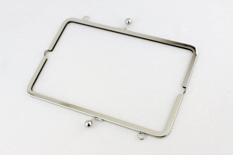 10 x 3.5  inch - Ball Closure - Silver Super Large Clutch Frame with Chain Loops on Top | SUPPLY4BAG