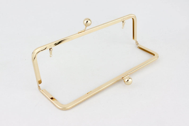 10 x 3 inch - Ball Closure - Gold Super Large Clutch Frame with Chain Loops | SUPPLY4BAG