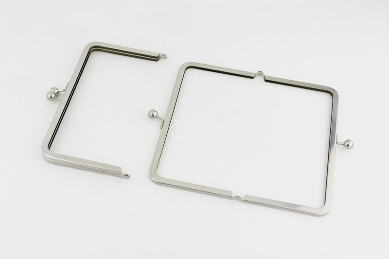 8 x 4.5 inch - Ball Closure - Brushed Silver Kisslock Metal Purse Frame | SUPPLY4BAG