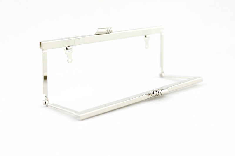 6 3/4 x 2.5 inch - Modern - Silver Open Channel Purse Frame with Chain Loops | SUPPLY4BAG