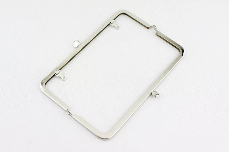 7 x 2.5 inch - Cake Top - Silver Metal Purse Frame with Chain Loops | SUPPLY4BAG
