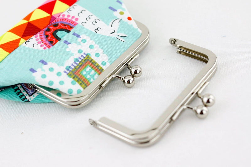 4 x 2 inch - Ball Closure - Silver Small Metal Purse Frame | SUPPLY4BAG