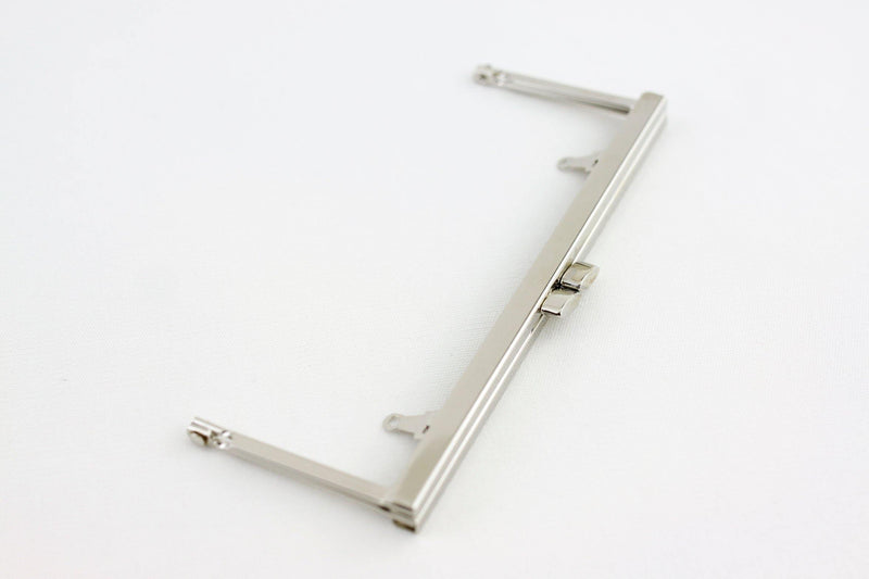 6 3/4 x 2.5 inch - Flat - Silver Open Channel Purse Frame with Chain Loops | SUPPLY4BAG