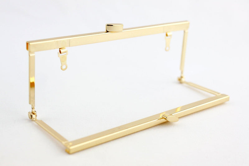 6 3/4 x 2.5 inch - Flat - Golden Open Channel Purse Frame with Chain Loops | SUPPLY4BAG