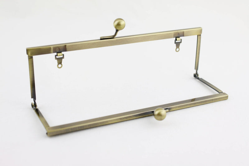 8 x 2.5 inch - Ball Closure - Antique Brass Open Channel Clutch Frame with Chain Loops | SUPPLY4BAG