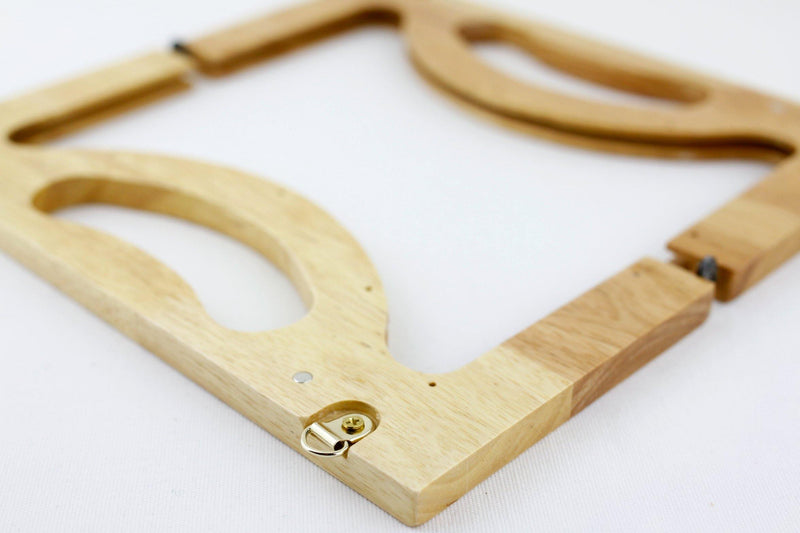10 x 4 5/8 inch - Natural Wooden Handbag Frame with Chain Loops | SUPPLY4BAG