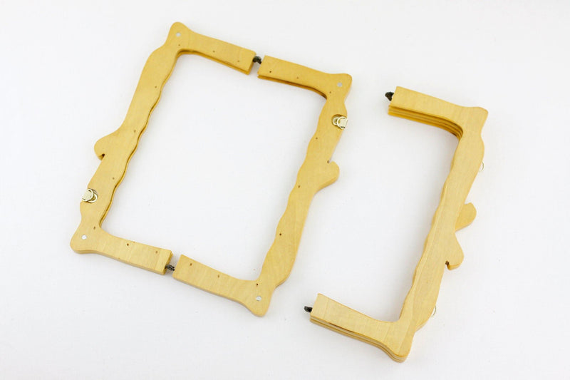 10 x 4 inch - Natural Wooden Handbag Frame with Chain Loops | SUPPLY4BAG