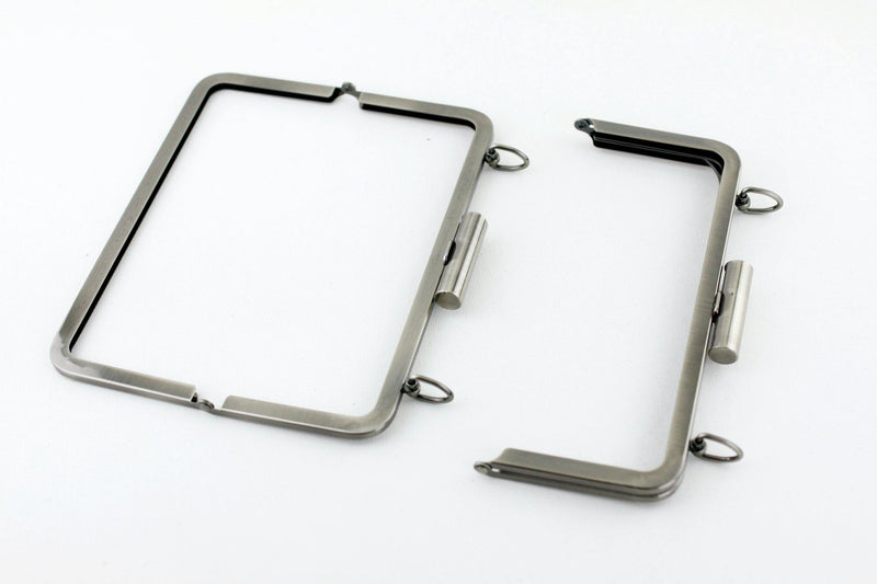 8.5 x 3.5 inch - Cylindrical Closure - Brushed Gunmetal Metal Clutch Frame with Chain Rings on Top | SUPPLY4BAG