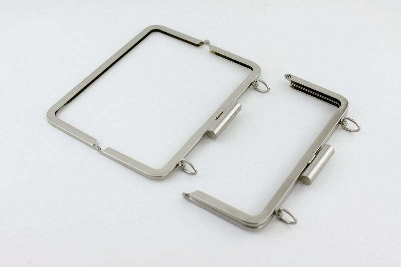 8.5 x 3.5 inch - Cylindrical Closure - Brushed Silver Metal Clutch Frame with Chain Rings on Top | SUPPLY4BAG