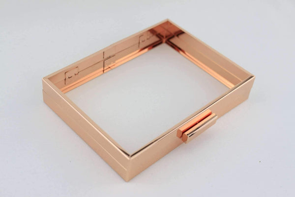 8 x 6 inch - Rose Gold Hollow Clutch Frame with Chain Loops | SUPPLY4BAG