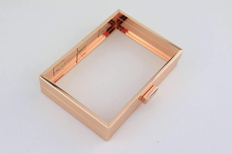 6 1/4 x 4.5 inch - Rose Gold Hollow Clutch Frame with Chain Loops | SUPPLY4BAG