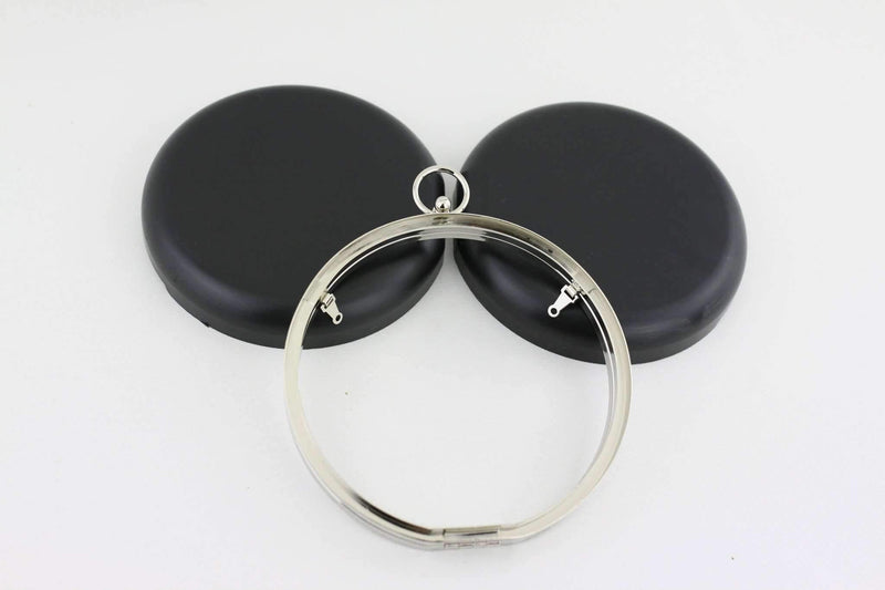 6 inch - O Ring Clasp - Silver Circle Box Clutch Frame with Chain Loops | SUPPLY4BAG