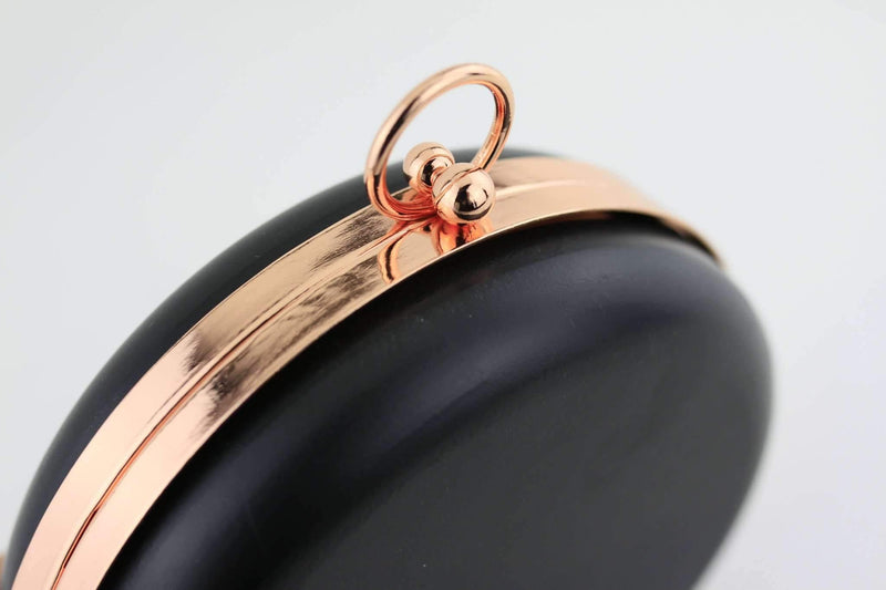 6 inch - O Ring Clasp - Rose Gold Circle Box Clutch Frame with Chain Loops | SUPPLY4BAG