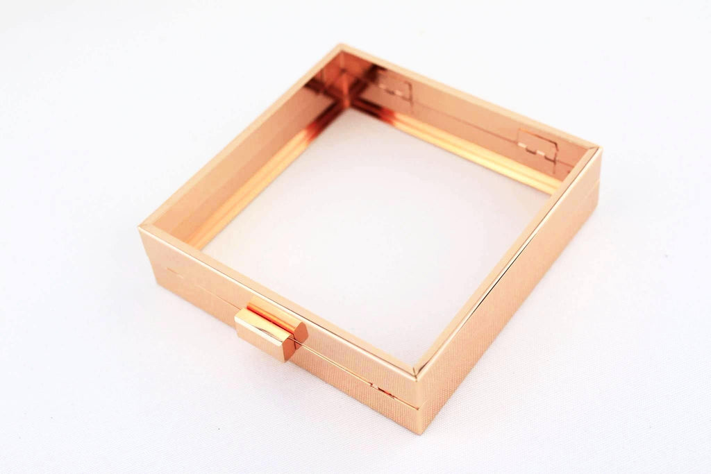 5.5 x 5.5 inch - Rose Gold Square Clutch Frame with Chain Loops | SUPPLY4BAG