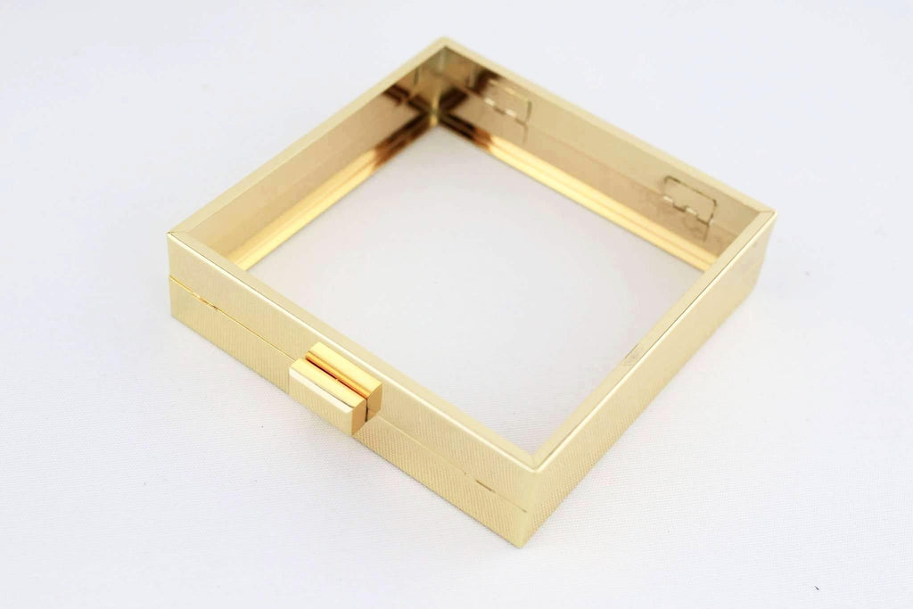 5.5 x 5.5 inch - Gold Square Clutch Frame with Chain Loops | SUPPLY4BAG