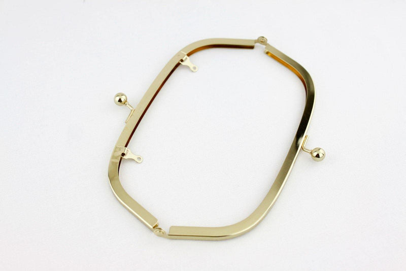 8 1/4 x 3 inch - Ball Closure - Golden Arch Shape Clutch Frame with Chain Loops | SUPPLY4BAG