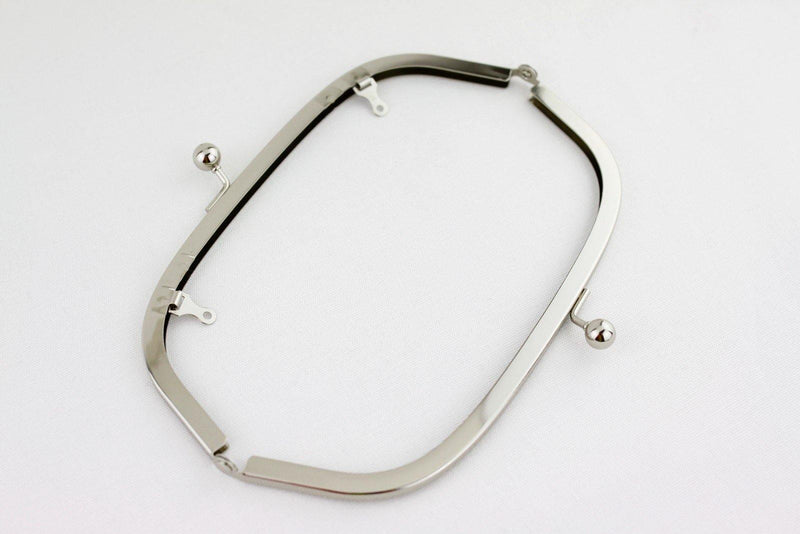 8 1/4 x 3 inch - Ball Closure - Silver Arch Shape Clutch Frame with Chain Loops | SUPPLY4BAG