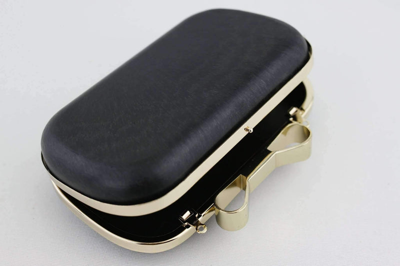 6.5 x 3 3/4 inch - Bow Closure - Golden Rounded Edge Shape Minaudiere Clutch Frame | SUPPLY4BAG