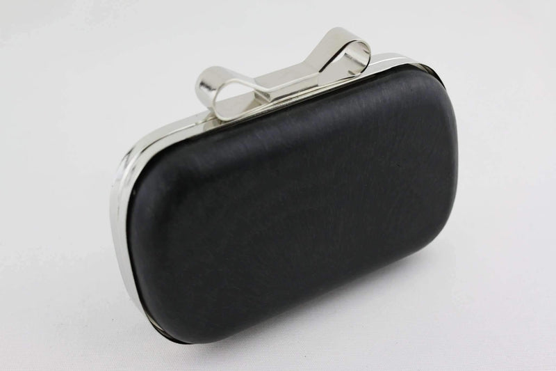 6.5 x 3 3/4 inch - Bow Closure - Silver Rounded Edge Shape Minaudiere Clutch Frame | SUPPLY4BAG
