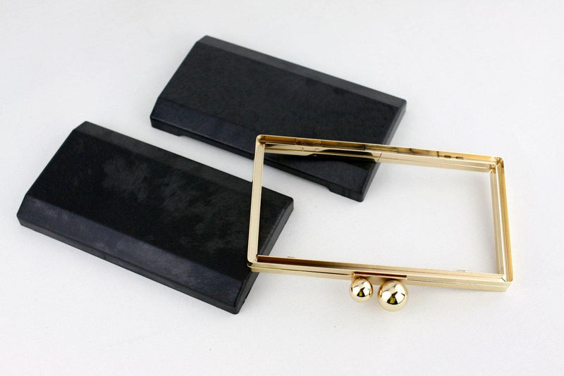 7 1/2 x 4 1/8 inch  - Sisters Ball Closure - Gold Rectangle Minaudière Clutch Frame | SUPPLY4BAG
