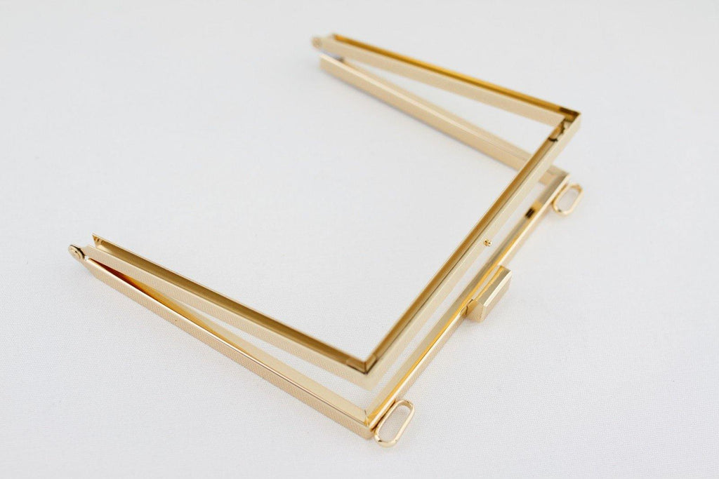 7 x 6 inch - Square - Gold Lateral Channel Clutch Frame with Chain Loops Atop | SUPPLY4BAG