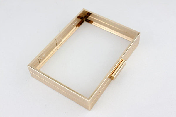 8 x 6 inch - Gold Hollow Clutch Frame with Chain Loops | SUPPLY4BAG