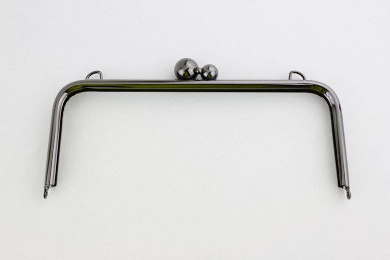 10 x 4 inch - 3 Balls - Gunmetal Large Clutch Frame with Chain Loops Atop | SUPPLY4BAG
