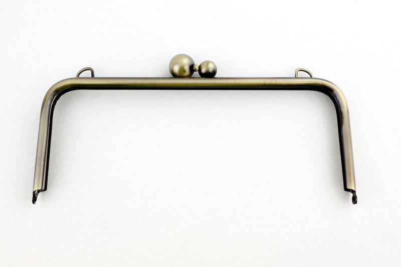 10 x 4 inch - 3 Balls - Antique Brass Large Clutch Frame with Chain Loops Atop | SUPPLY4BAG