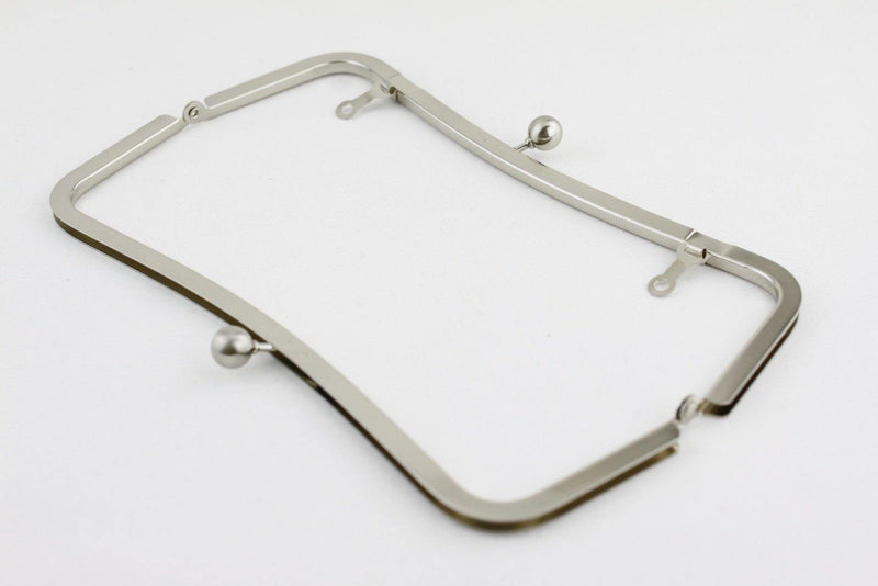 9 x 3 inch - Ball Closure - Upside Channel Silver Clutch Frame with Chain Loops | SUPPLY4BAG