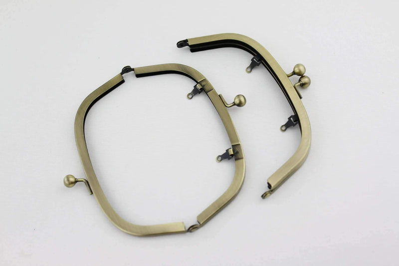 6.5 x 2.5 inch - Ball Closure - Antique Brass Arch Shape Metal Purse Frame with Chain Loops | SUPPLY4BAG