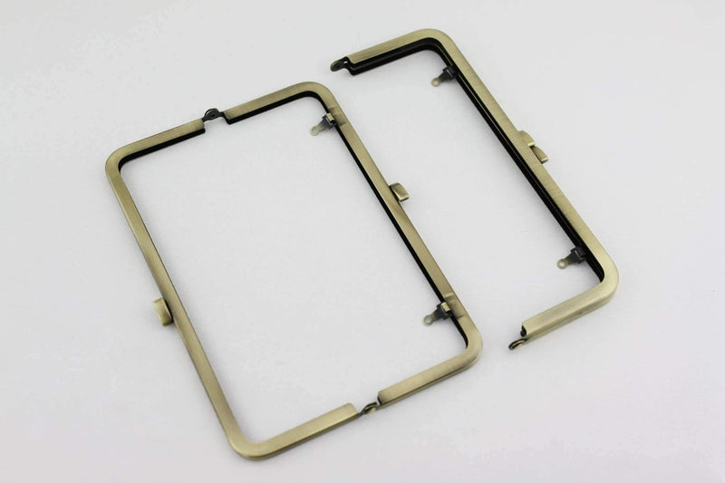 8 1/4 x 3 inch - Flat - Antique Brass Metal Purse Frame with Chain Loops | SUPPLY4BAG