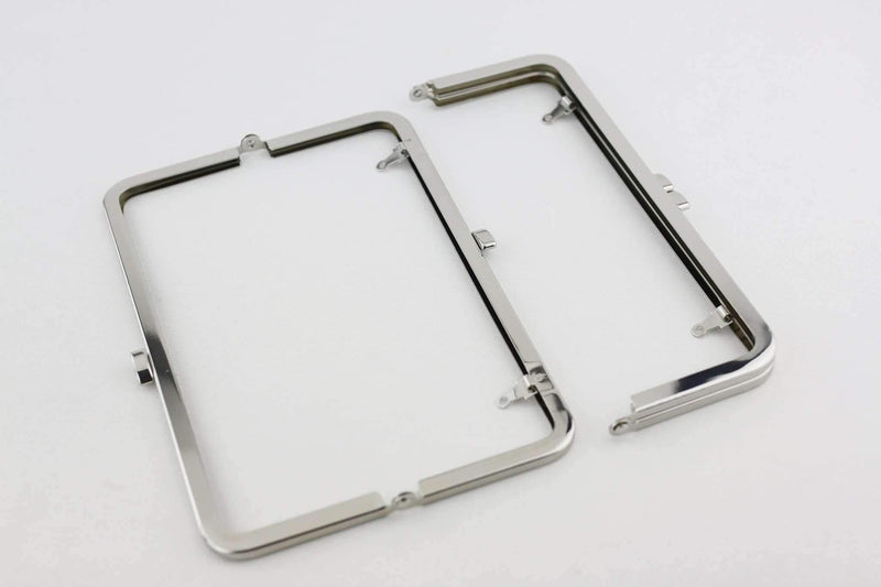 8 1/4 x 3 inch - Flat - Silver Metal Purse Frame with Chain Loops | SUPPLY4BAG