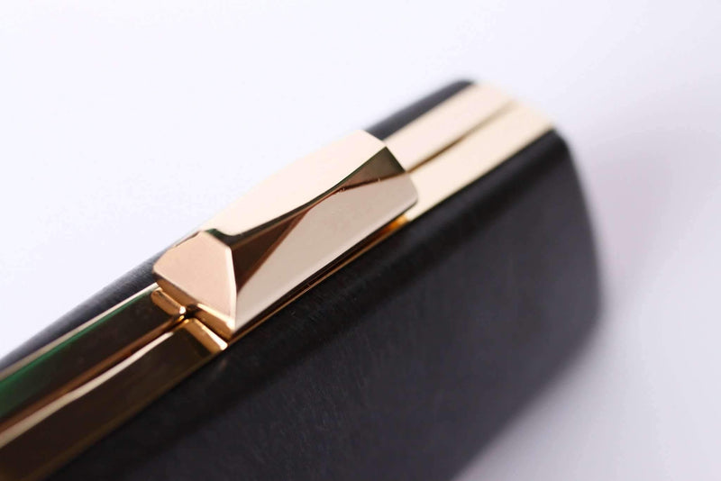 8 1/4 x 3 inch - Trapezoidal Shape Gold Minaudière Clamshell Clutch Frame | SUPPLY4BAG