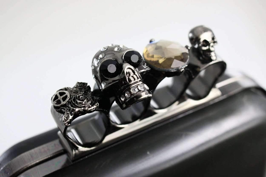 6 1/4 x 4 inch - Knuckle Duster - Blush Gunmetal Skull Box Clutch Frame with Covers | SUPPLY4BAG