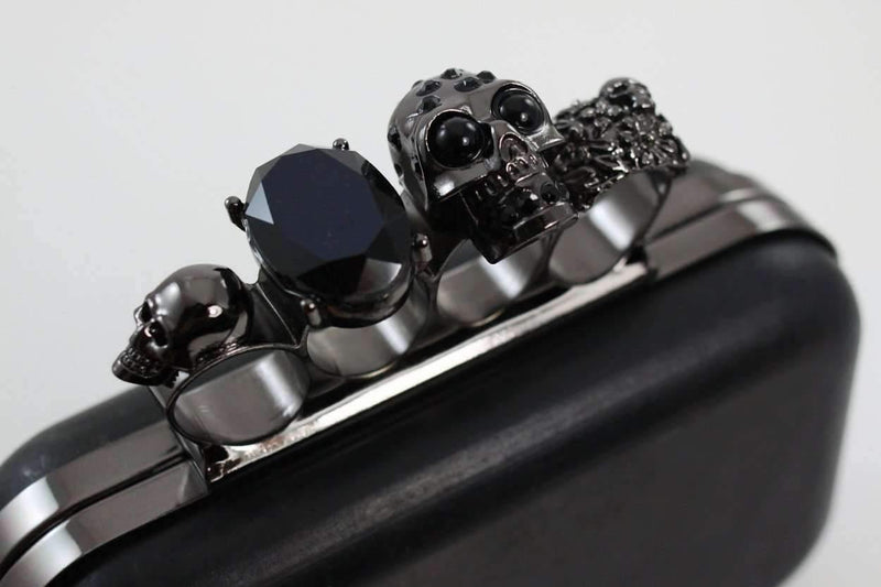 6 1/4 x 4 inch - Knuckle Duster - Gunmetal Skull Box Clutch Frame with Covers | SUPPLY4BAG