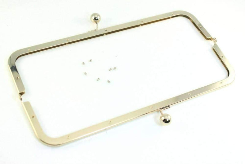 12 x 3 1/4 inch - Ball Closure - Light Gold Super Large Clutch Frame | SUPPLY4BAG