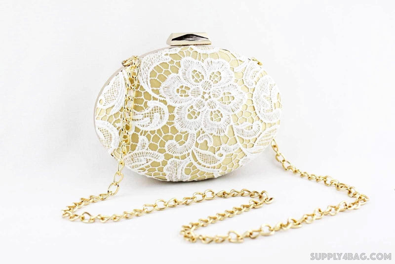 8.5 x 6 inch - Egg Shape Gold Minaudière Clamshell Box Clutch Frame | SUPPLY4BAG
