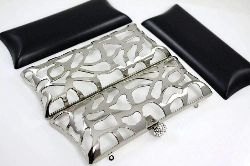8 1/4 x 3.5 inch - Silver Zinc Alloy Box Clutch Frame | SUPPLY4BAG