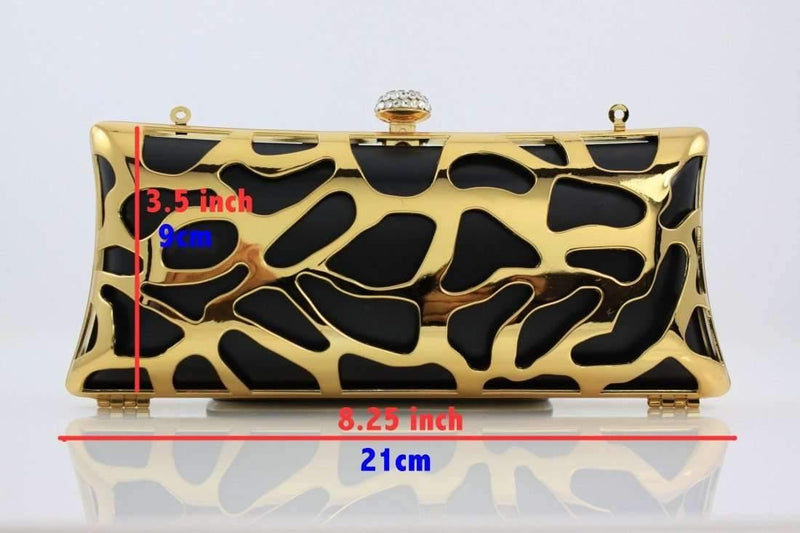 8 1/4 x 3.5 inch - Shiny Gold Zinc Alloy Box Clutch Frame | SUPPLY4BAG